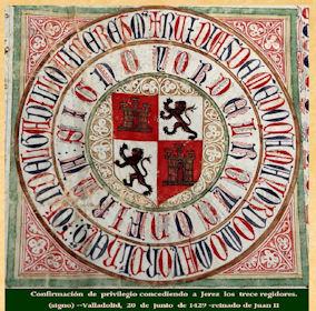 Confirmación de privilegio por el que se concede a Jerez los 13 regidores (signo). Valladolid, 20/6/1429, reinado de Juan II.