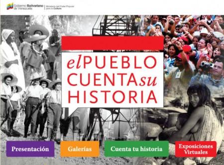 Cartel del portal web 'El pueblo cuenta su historia' de Venezuela.