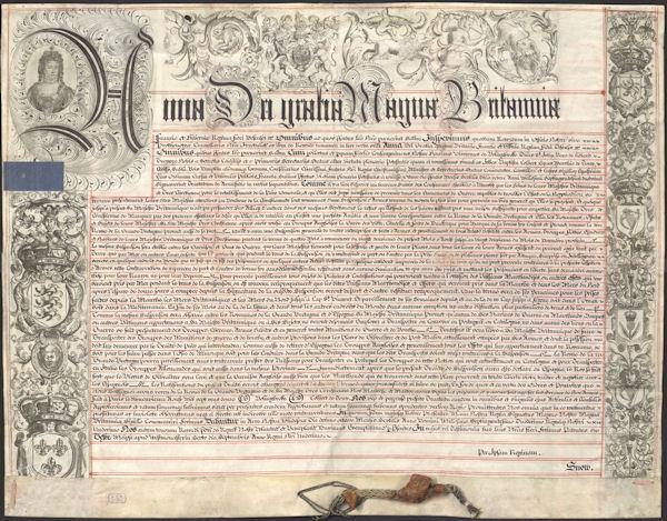 Tratado de Tregua y Amistad ajustado entre Francia e Inglaterra, con inclusión de España, concluido en París el 19 de agosto de 1712 y ratificado por S.M. el 1 de noviembre del mismo año.Pergamino. Latín. 940 x 730 mm.  AHN. ESTADO, MPD.1107.