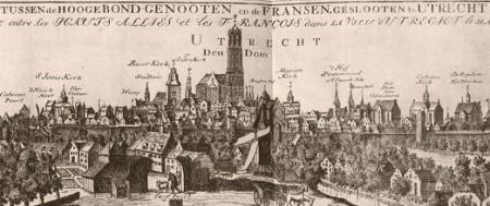 Detalle de L'idée de la Paix conclue entre les haust Alliés et les François...Estampa en aguafuerte.