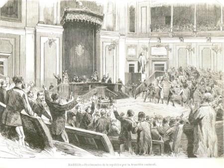 Proclamación de la Primera República española por la Asamblea nacional, el 11 de febrero de 1873 (La Ilustración Española y Americana).