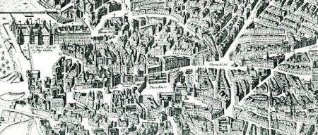 Detalle del plano de Madrid de 1622-1632 atribuido a Witt y Marcelli.