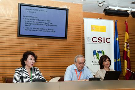 Alesandra Giumlia-Mair (Standing Committee), Ignacio Montero (IH, CCHS-CSIC) y Dirce Marzoli (Directora del Inst. Arquelogíco Alemán-Madrid)