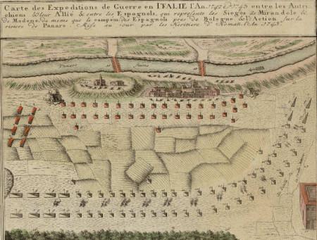 Mapa de las expediciones de la guerra de Italia, 1742.