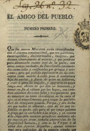 Portada de 'El Amigo del Pueblo', 1822.