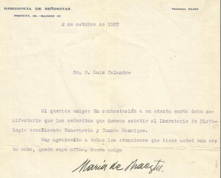 Carta de Maríia de Maeztu