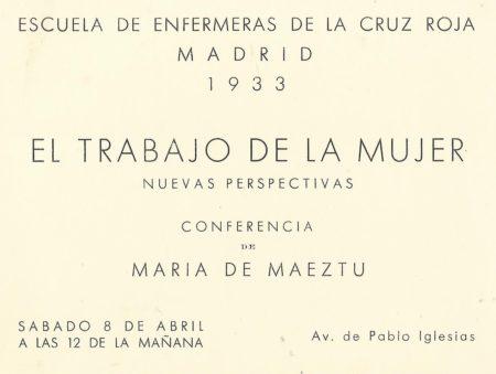 Anuncio de conferencia de María de Maeztu