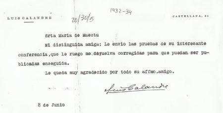 Documento sobre conferencia de María de Maeztu