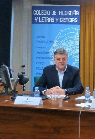 Antonio Morales Benítez, en el acto celebrado en el Colegio de Doctores y Licenciados de Madrid.