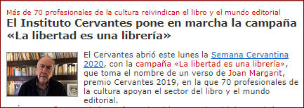 Noticia del Instituto Cervantes.