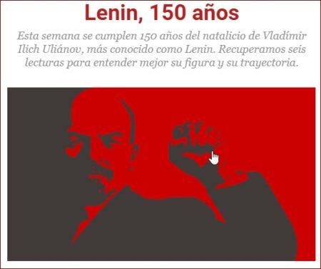 Anuncio del 150 aniversario de Lenin.
