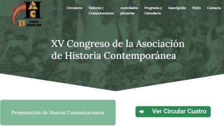 Captura de la web del Congreso de la Asociación de Historia Contemporánea.