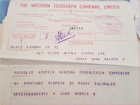 Telegrama de Juan Negrín a los hijos de Alcalá Zamora.