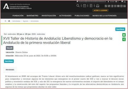 Captura de la web del Centro de Estudios Andaluces.