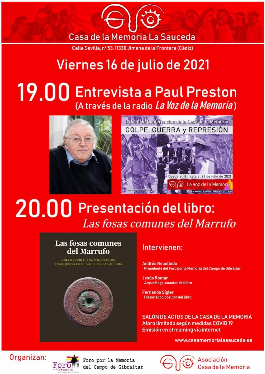 Cartel de la entrevista a Paul Preston y la presentación del libro Las fosas comunes del Marrufo.